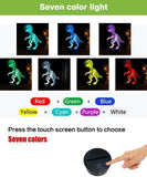 Dinosaur 3D Night Light Touch Activated Desk Lamp, Ticent 7 Colors 3D Optical Illusion Lights with Acrylic Flat, ABS Base & USB Charger for Christmas Kids Gifts