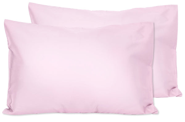 2 Light Pink Toddler Pillowcases - Envelope Style - for Pillows Sized 13x18 and 14x19-100% Cotton with Percale Weave - Machine Washable - 2 Pack