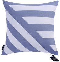 Aitliving Decorative Pillow Cover Throw Pillow Case Shell 17x17 inch Cotton Canvas Blue,Geometric Stripes Zig zag Decor Handmade Bold Twisted Cushion Cover 1 PC 43X43cm