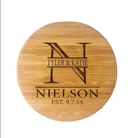 Personalized bamboo Coaster Set Engraved Coastesrs Housewarming Hostess Gifts for New Home Man Cave House Warming Presents Decor Wedding Registry Living Room Decorations 4pcs/set 4-5 Inches