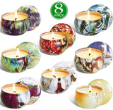 YIH Gift Package Scented Candles Lemon, Fig, Lavender, Spring Fresh,Rose ,Jasmine,Vanilla,Bergamot,Natural Soy Wax Portable Travel Tin Candle,Set of 8
