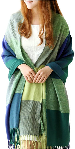 XDGOOD Pashmina Scarf & Fine Soft Comfortable Cashmere Shawl, Premium Large Scarf Women Scarves, Wraps Womans Warm, 75.6 X24 in,Green