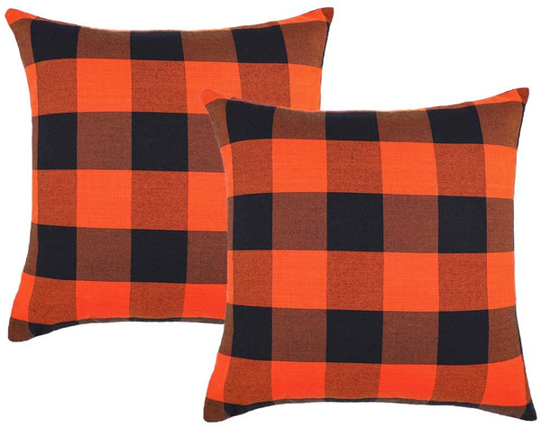 4TH Emotion Set of 2 Fall Halloween Buffalo Check Plaids Throw Pillow Case Cushion Cover Cotton Canvas for Sofa Orange and Black, 20 x 20 Inches