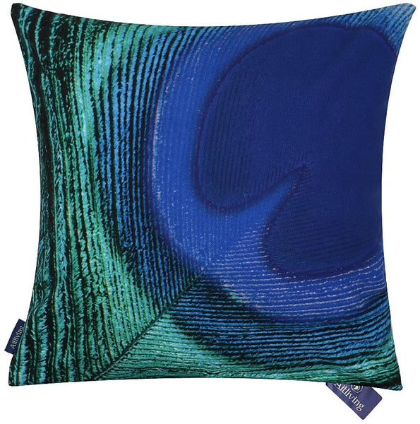 "Aitliving Toss Pillow Case 100% Cotton Canvas Peacock Feather Blue Cushion Pillow Cover Clear Digital Printing 18""X18"",46X46cm"