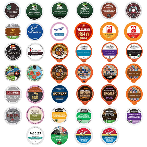 Crazy Cups Coffee Variety Pack, Single Serve Pods for Keurig K-Cup, Assorted Flavors like Espresso, Dark Roast, Breakfast Blend (50 Count)