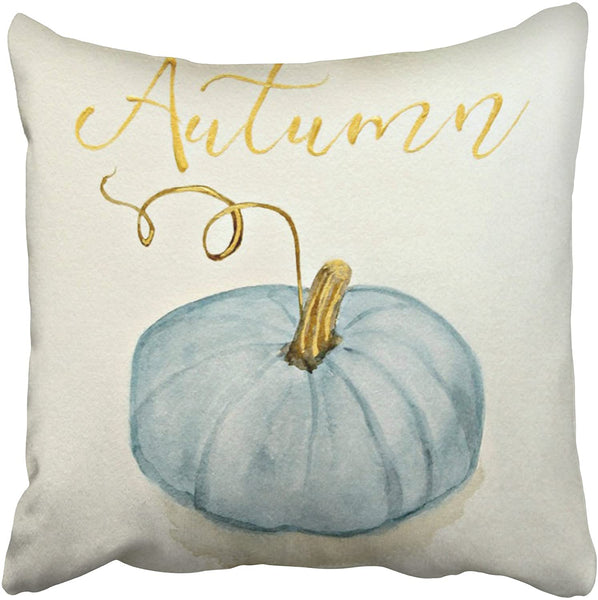 Accrocn Pillowcases Decorative Autumn Fall Free Blue Gray Cinderella Pumpkin Watercolor Throw Pillow Covers Case Cases Cover Cushion Sofa Size 16x16 Inches Two Side
