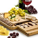 "Bamboo Cheese Board Set 13"" x 13"" with Integrated Drawer and 4 Specialist Stainless Steel Knife, Perfect Christmas Gifts"