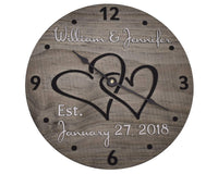11 Inch Personalized Wooden Wall Clock for Couple - Handmade Wood Anniversary Gift