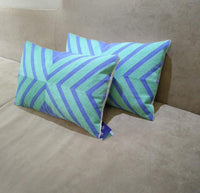 Aitliving Throw Pillow Cover Lumbar Decorative Arrows Coko 2-Tone Geometric Cotton Canvas Embroidery Pillowcase 1pc Blue/Lucite Green Chevron 12x20, 30x50cm