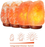 "Himalayan Salt Lamp 6-8"" (4-7 lb) with Dimmer Switch - All Natural and Handcrafted with Wooden Base and an Extra Bulb"