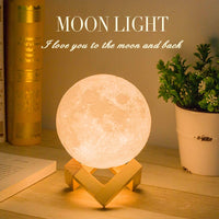 Mydethun Moon Lamp Moon Light Night Light for Kids Gift for Women USB Charging and Touch Control Brightness 3D Printed Warm and Cool White Lunar Lamp(4.7 in Moon lamp with Stand)
