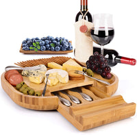 Esup Bamboo Cheese Board Set Cheese Plate 16 '' x 13 '' With Integrated Slide-Out Drawer and 4 Specialist Stainless Steel Knife & 4 Stainless Steel Fork Perfect Christmas Gifts Thanksgiving Gifts