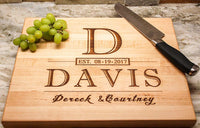 Personalized Cutting Board, USA Handmade Cutting Board - Personalized Gifts - Wedding Gifts for the Couple, Engagement Gifts, Gift for Parents, Real Estate Agent Closing Gifts
