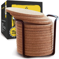 "Natural Cork Coasters With Round Edge 4 inches 16pc Set with Metal Holder Storage Caddy – 1/4"" Thick Plain Absorbent Heat-Resistant Reusable Saucers for Cold Drinks Wine Glasses Plants Cups & Mugs"