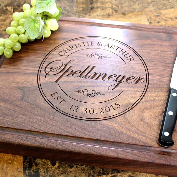 Classic Stamp Personalized Engraved Chopping Block - Wedding, Bridal Shower, Anniversary, Engagement, Housewarming Gift. #001