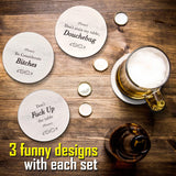 Coasters for Drinks | Absorbent Drink Coasters Set 6 Pcs | Funny Coasters with Holder | Housewarming Gifts for Friends | Men, Women Birthday | Cool Home Decor | Living Room, Kitchen, Bar Decorations