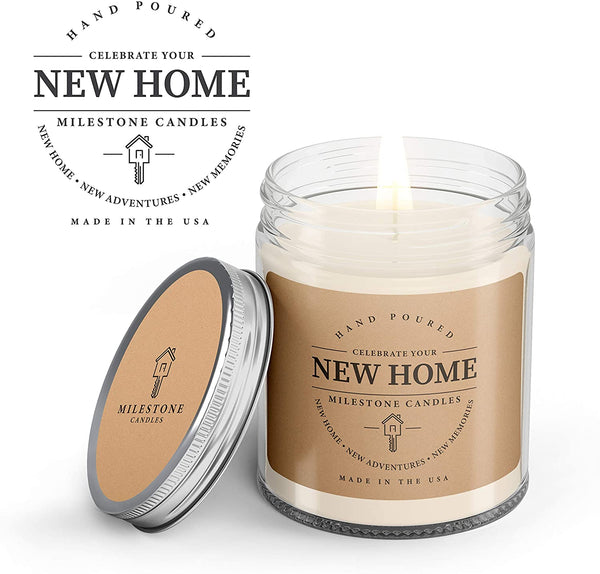 Milestone Candles New Home Clear Jar Soy Blend Candle 7.5 oz Glass, Made in The USA, 100% Cotton Wick, Reusable Keepsake