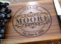 Round Vintage Personalized Engraved Cutting Board, Wedding, Anniversary, Housewarming Keepsake, Birthday, Corporate Gifts, Award, Promotion #010