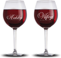 Set of 2 Personalized Wine Glasses for Couples Newly Wed Gifts Customizable with Names| Housewarming Gifts For Couples Custom Large Wine Glasses Monogrammed 20 oz Wine Glass #W10