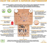 Luxury Dining 16-piece Charcuterie Cheese Board and Knife Set - Organic Bamboo Wood Cutting and Serving Tray, Perfect Wedding, Birthday and Housewarming Gifts
