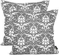 ARRIBA, Ikat Floral Damask Chain Pattern, Double Side Printed Decorative Cotton Accent Canvas Throw Pillow Cases-Cushions Covers (Charcoal Graphite Grey & White_22x22 Inches or 55x55 Cms) Pack-2 Pcs.
