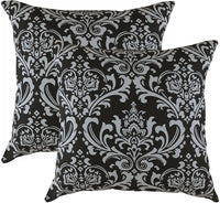 TreeWool, Pack of 2, Throw Pillow Cover Damask Accent 100% Cotton Decorative Square Cushion Cases (18 x 18 Inches / 45 x 45 cm; Yellow & White)