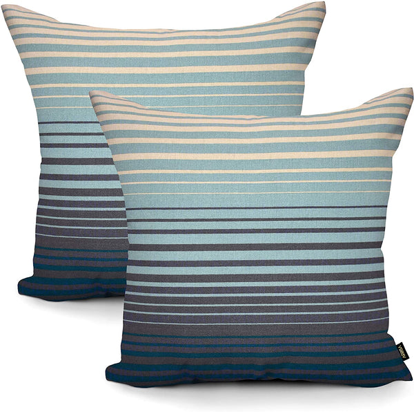 ARRIBA, Nautical Stripe Lines, (Pack-2 Pcs_24x24 Inches_60x60 Cms_Dark Graphite Grey Teal Blue & Seafoam Green) Double Side Printed Decorative Cotton Accent Canvas Throw Pillow Cases-Cushions Covers.
