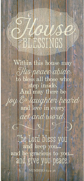 "House Blessing Wood Plaque Inspiring Quote 5.5""x12"" - Classy Vertical Frame Wall Hanging Decoration 
