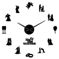Valentine Couple Engaged Personalize DIY Wall Clock Engagement Housewarming Gift Lover Theme Big Time Clock Wedding Home Decor
