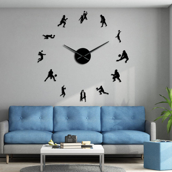 Volleyball Players Modern Mute DIY Wall Clock Mirror Surface Wall Art Stickers Sports Decor Housewarming Volleyball Lover Gift