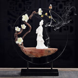 New Chinese Zen Ceramic Ladies Ornaments Feng Shui Living Room Porch Soft Office Home Decorations Housewarming Gifts