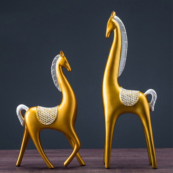 Pair Of Horses Home Decoration High Quality Environmental Protection Resin Horse TV/wine Cabinet Decoration Housewarming Gift