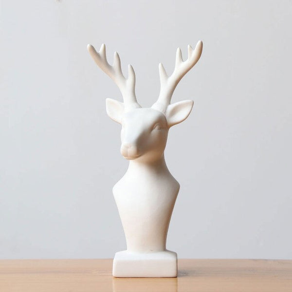 Vintage Ceramic Porcelain White Deer Figurine Handmade Home Animal Statue Desk Decor Collection Housewarming Xmas Festival Gifts