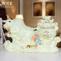Ceramic decorations Home Furnishing TV cabinet office feng shui lucky cow ornaments opening housewarming gift