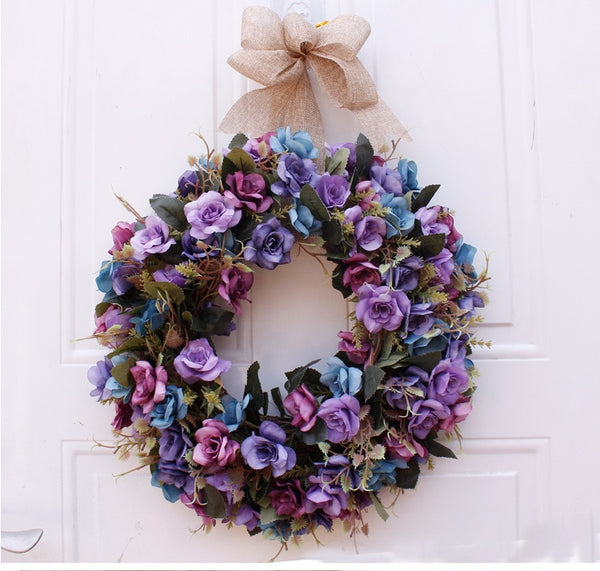 16 inch Spring Retro oil painting  roser Wreath simulation  Wreath  door home Decor Monogrammed for Housewarming Gift