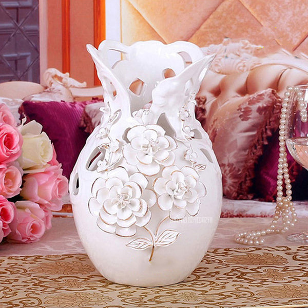 European Style 3D Flower Pattern Ceramic White Vase Ornaments Wedding Housewarming Gift Flower Bottle Living Room Decoration