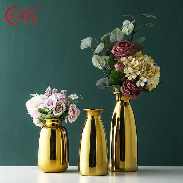 Gold Flower Vases For Decoration Room Wedding Office Table Nordic Home Decor Ceramic Vase Filler Large Luxury Housewarming Gift