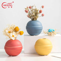 Creative Ceramic Round Ball Vases Small Handmade Flower Vase Filler Nordic Home Decoration Unique Housewarming Mother Xmas Gifts