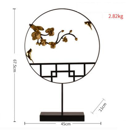 European Wrought Iron Lotus Figurines Decoration Crafts Home Livingroom Ornaments Craftwork Housewarming New Home Opening Gifts