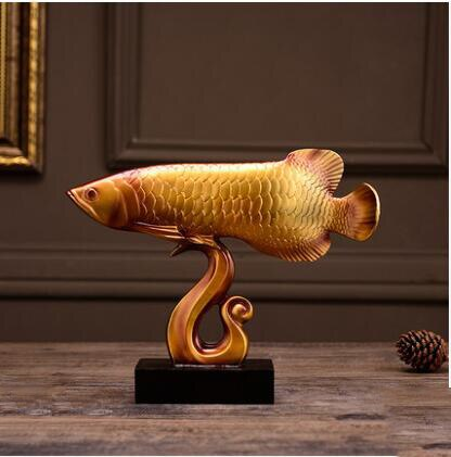 European Resin Lucky Gold Dragon Fish Ornaments Home Livingroom Decorations Shop Company Opening Housewarming Gift Office Crafts