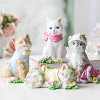 Creative Cute Cartoon Cat Figurine Resin Animal Miniatur Fairy Garden Ornament Mini crafts Home Decoration Housewarming gift