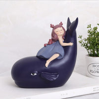 Ins Creative Girl And Whale Home Decoration Living Room Desktop Decoration Ornaments Resin Crafts Housewarming Gifts