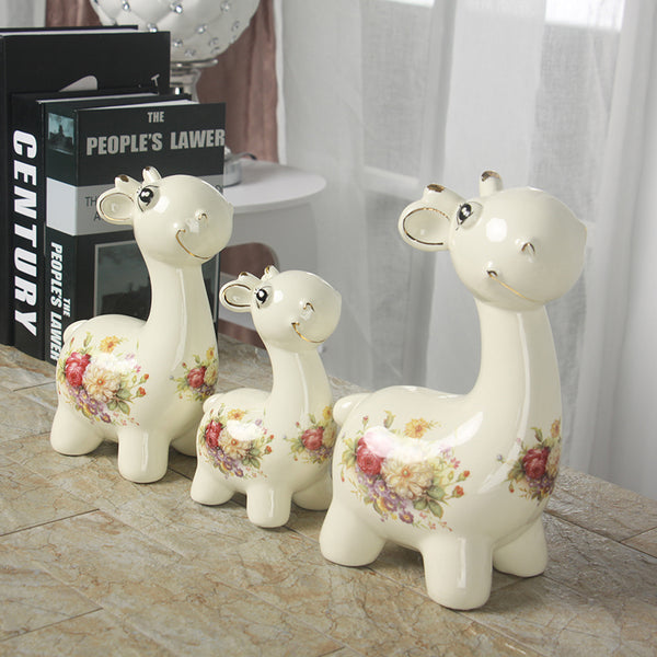 1SIT ceramic cartoon deer ornaments  home accessories living room TV cabinet simple furnishings housewarming gifts WL5281534