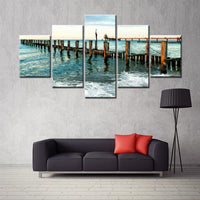 5PCS HD Print Calm Sea Plank Road Landscape Wall Art Canvas Painting Lake Side of the Wooden Bridge Fashion Housewarming Gifts