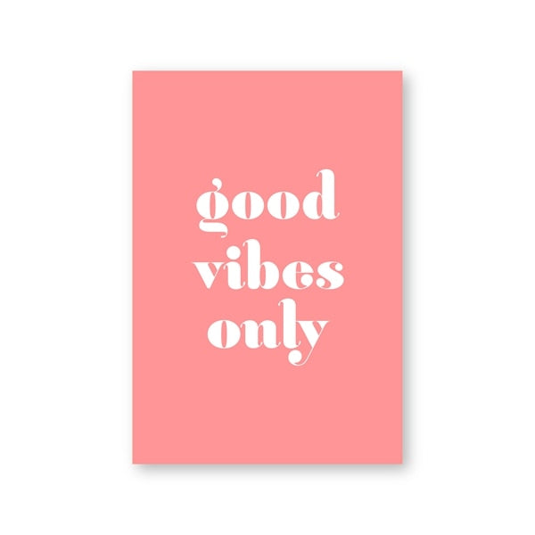 Good Vibes Only Print Retro Dorm Wall Art Poster Inspirational Quote Typography Canvas Painting Housewarming Gift Office Decor