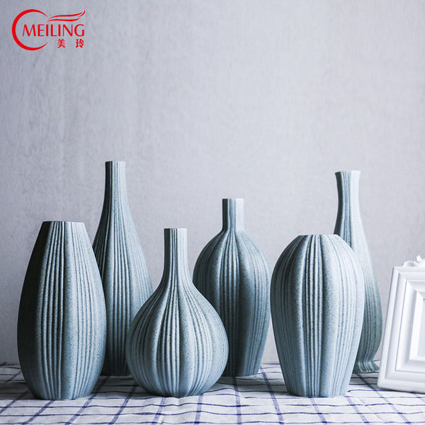 MEILING Fine Art Blue Ceramic Vase for Home Decoration Housewarming Gift Modern Big Porcelain Flower Vase Tabletop Centerpieces