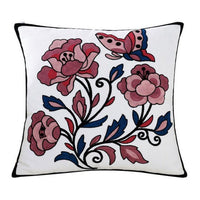 High Quality  100% Cotton Embroidery Flower Pattern Sofa Cushion Cover Home Decoration Housewarming Gift Car Throw Pillow Cover