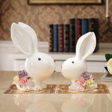 Ceramic Collectible Rabbit Figurines Home Decoration Accessories Animal Ornaments For Living Room Table Housewarming Gift Ideas