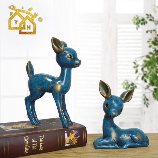 Sika Deer Fairy Garden Miniatures Resin Couples crafts Housewarming Gift Home Decoration Accessories for Living Room