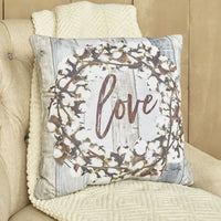 "Cotton Boll Furniture Accent Pillow - Love - Farmhouse 17"" Throw Cushion"